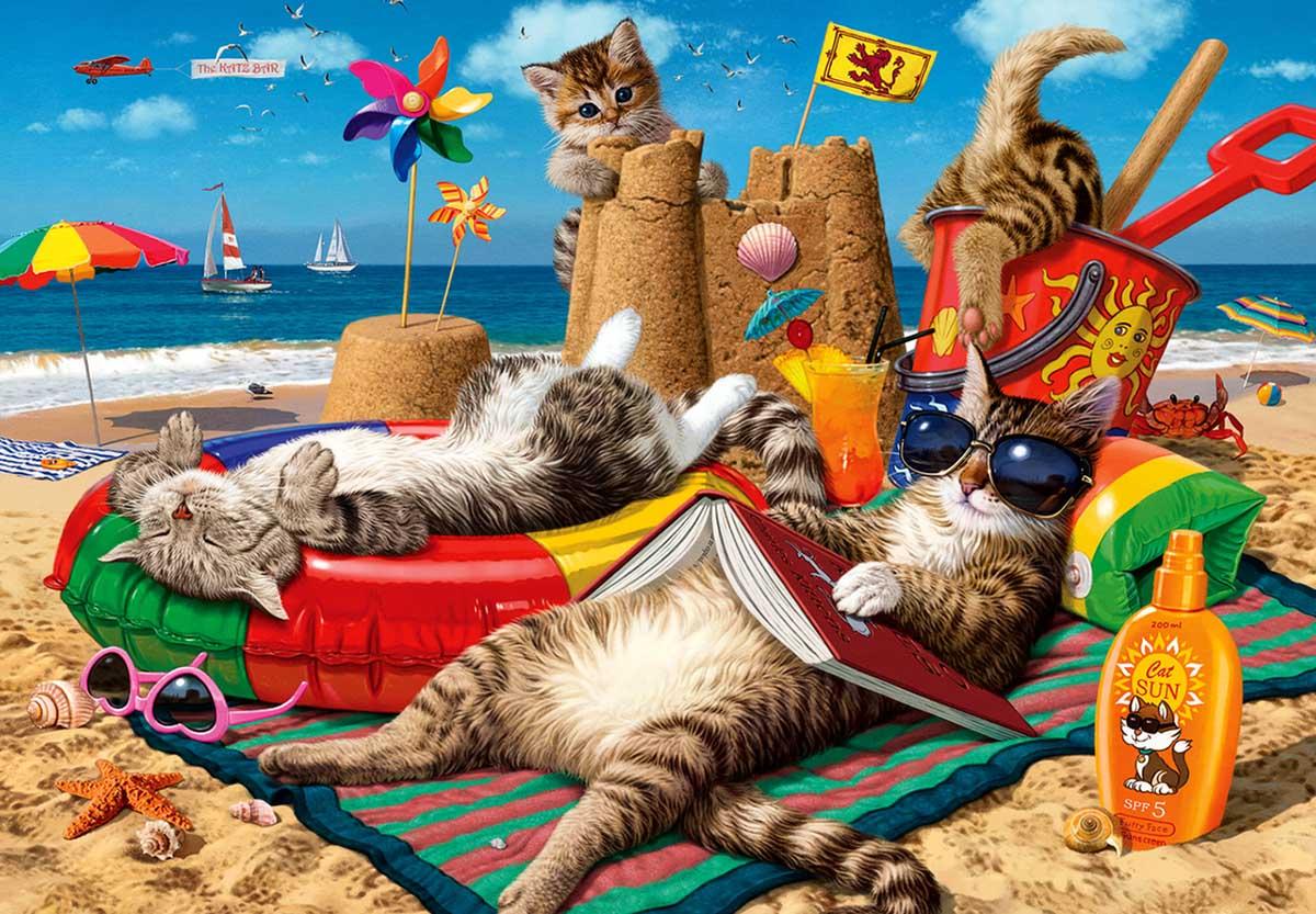 Cats on the Beach Beach Jigsaw Puzzle