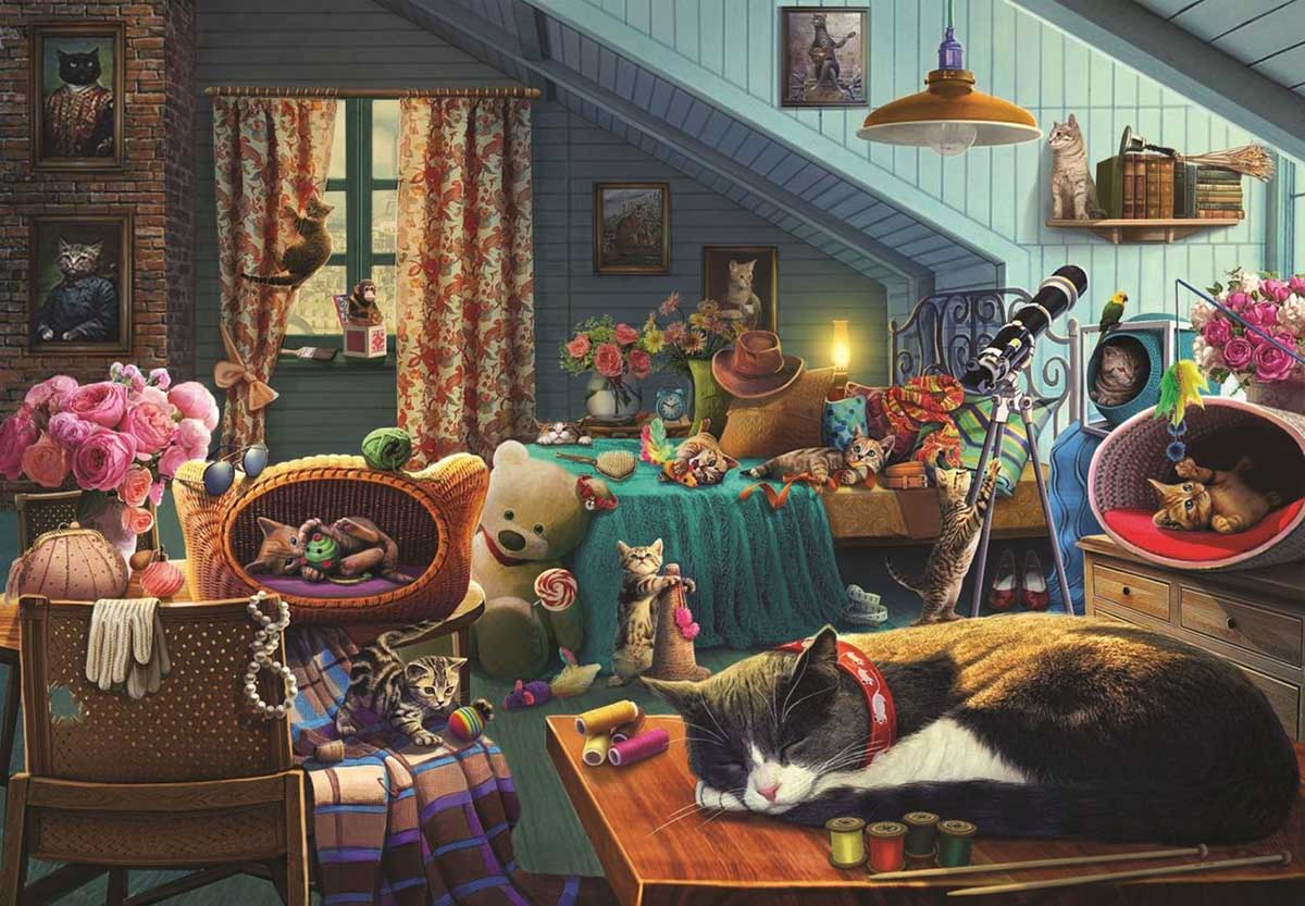 Kitten Play Bedroom Cats Jigsaw Puzzle