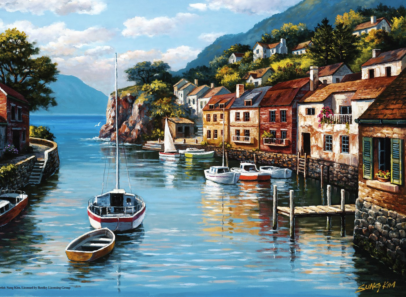 Village on the Water Countryside Jigsaw Puzzle