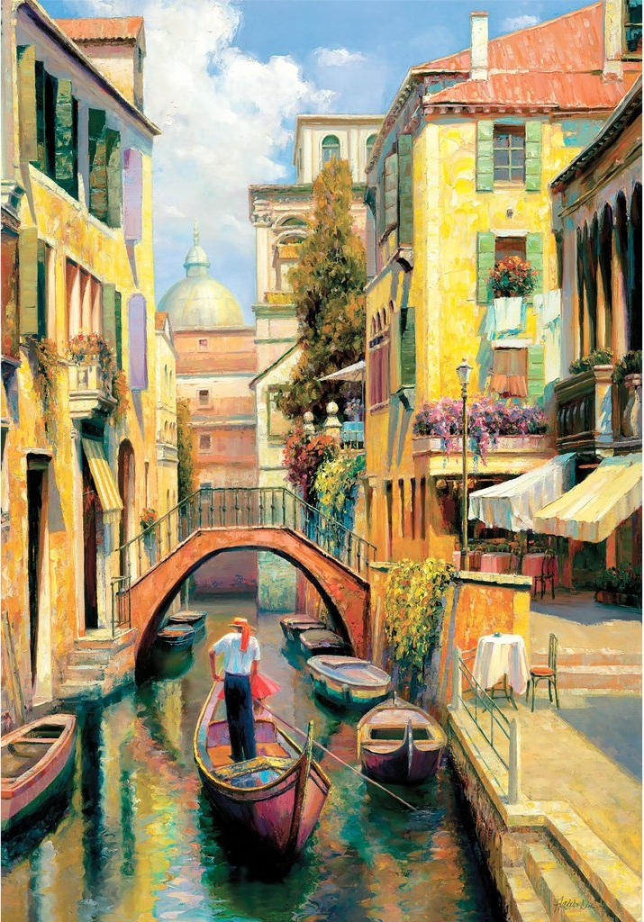 Sunday in Venice Boats Jigsaw Puzzle