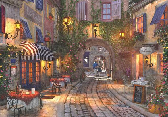 French Walkway Street Scene Jigsaw Puzzle