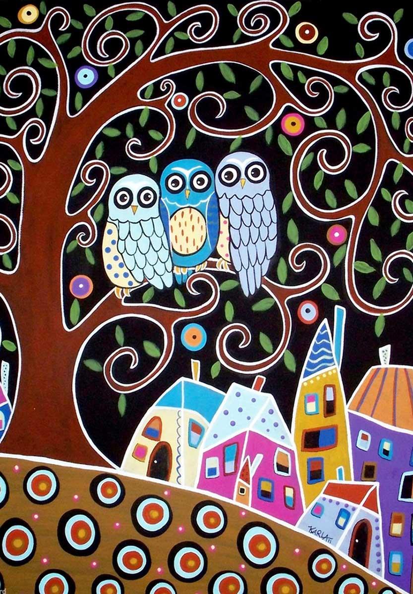 Three Owls Birds Jigsaw Puzzle