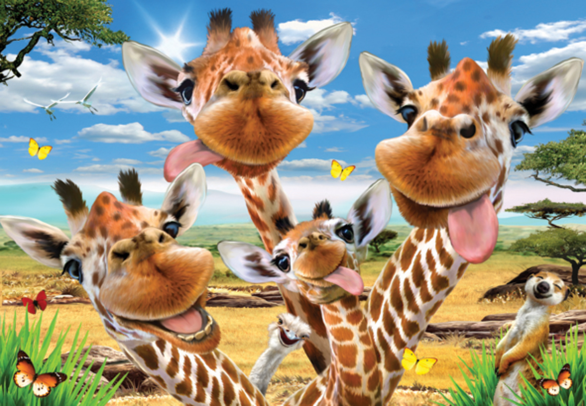 Giraffe Selfie Animals Jigsaw Puzzle