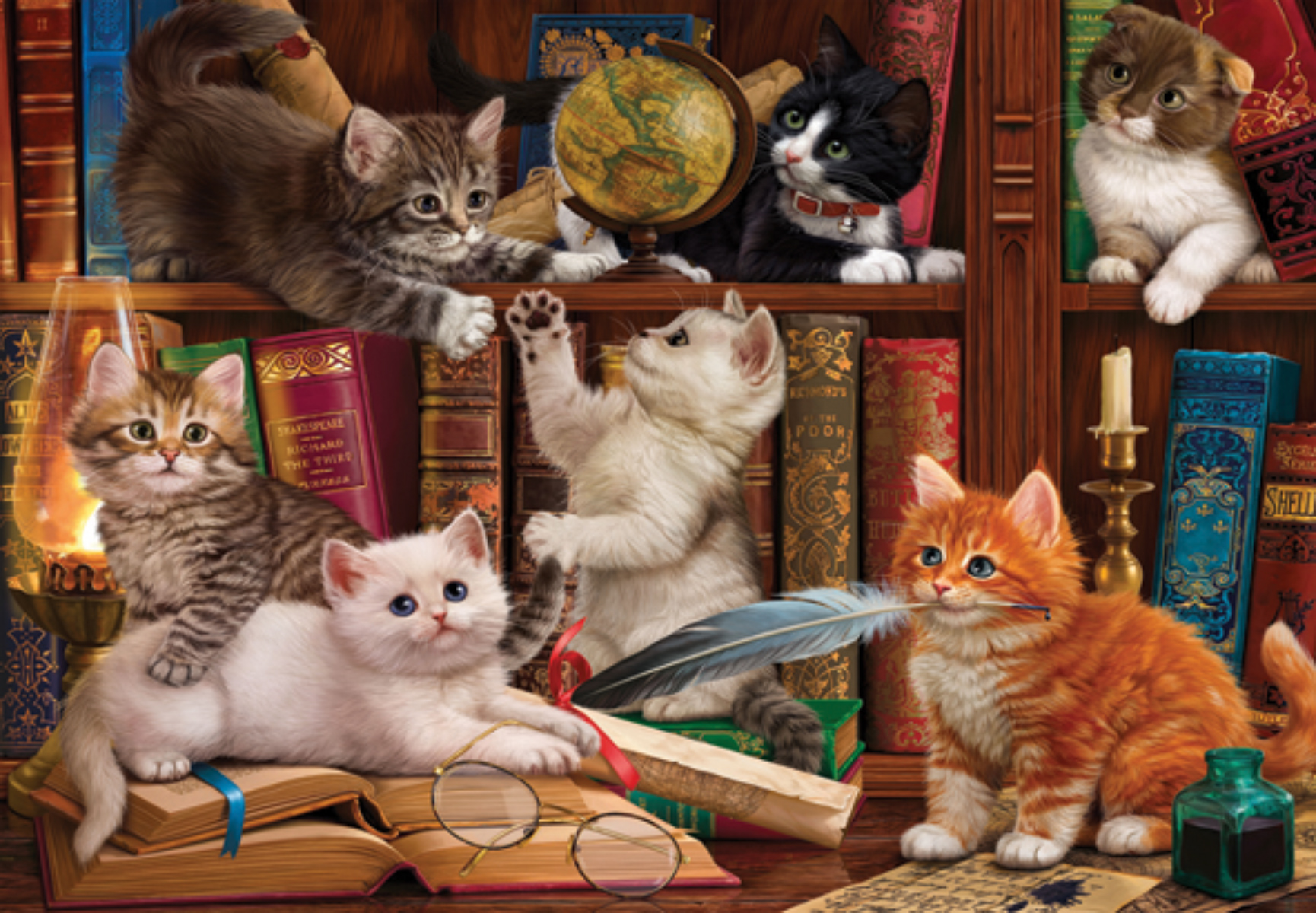 Kittens in the Library Cats Jigsaw Puzzle