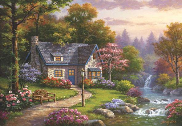 Stonybrook Falls Cottage Cottage / Cabin Jigsaw Puzzle