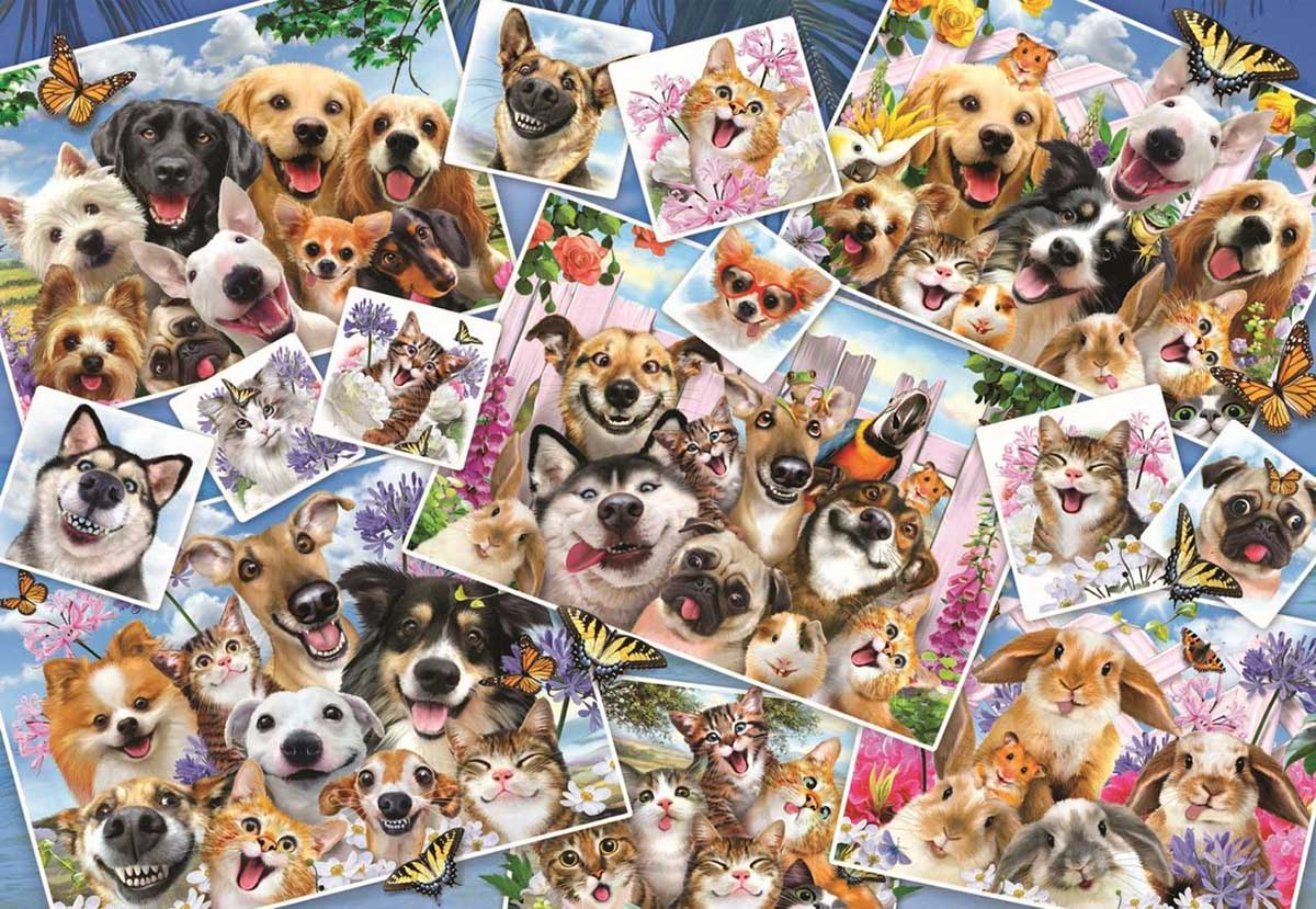 Selfie Pet Collage Dogs Jigsaw Puzzle