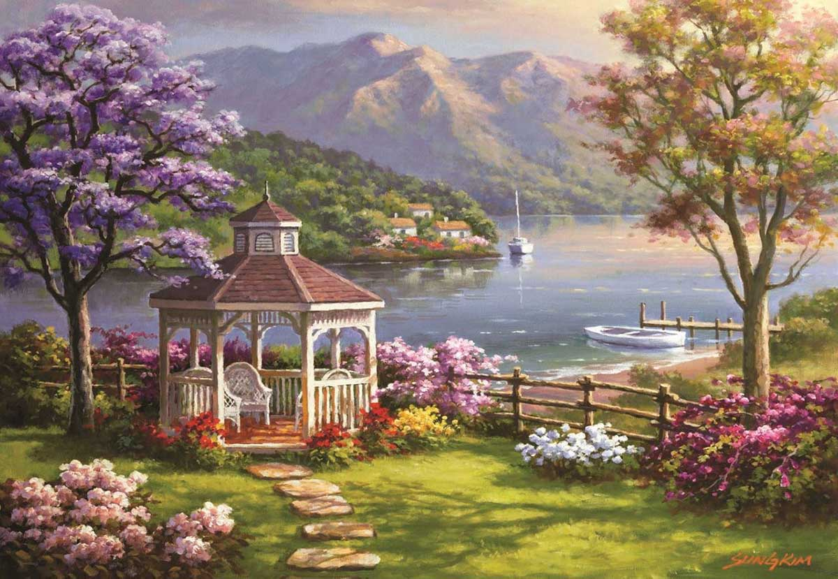 Crystal Lake Retreat Flowers Jigsaw Puzzle