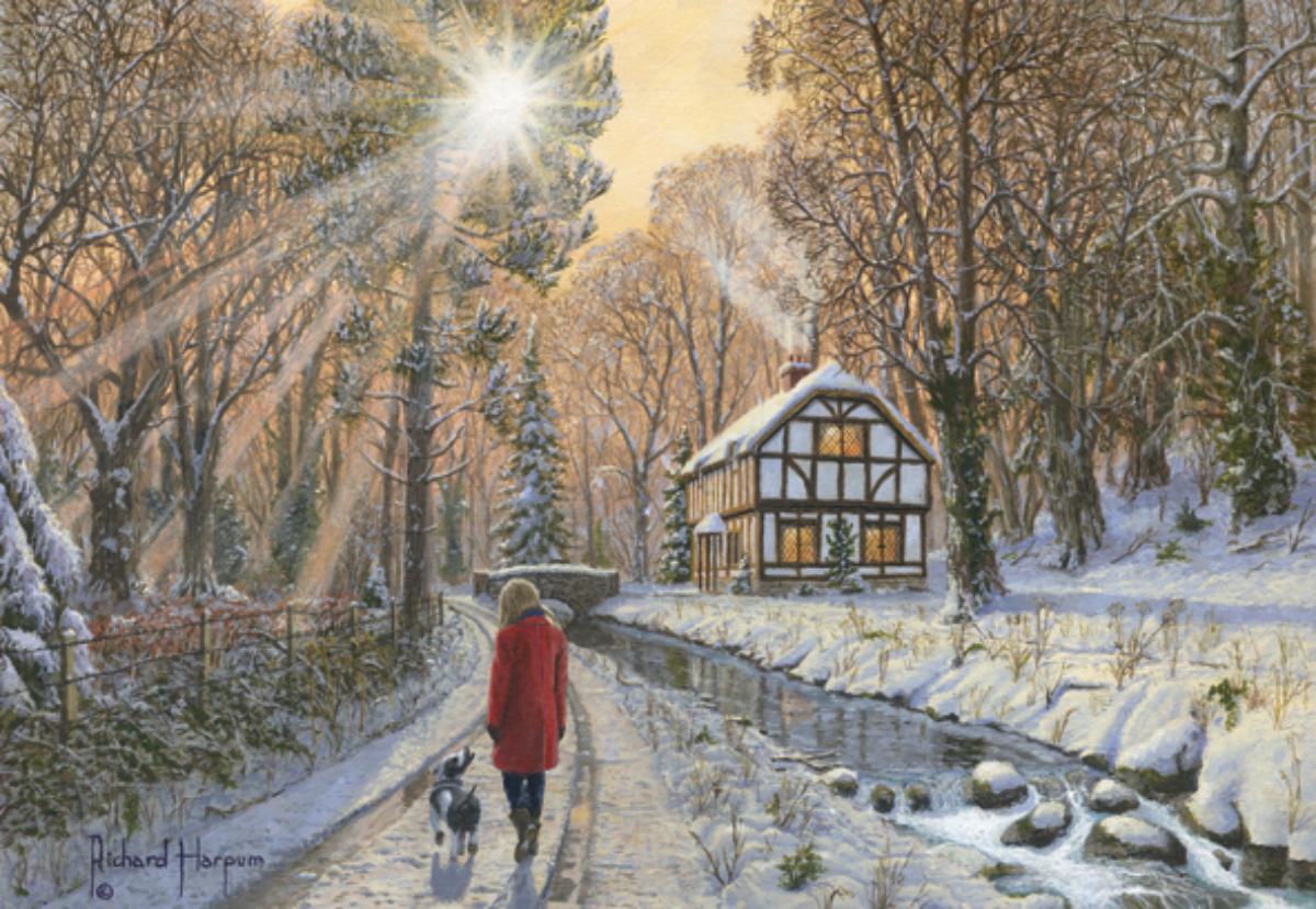 Winter Woodland Street Scene Jigsaw Puzzle