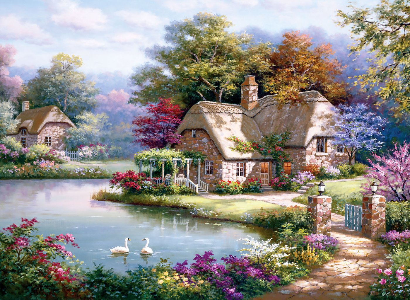 The Swan Cottage Birds Jigsaw Puzzle