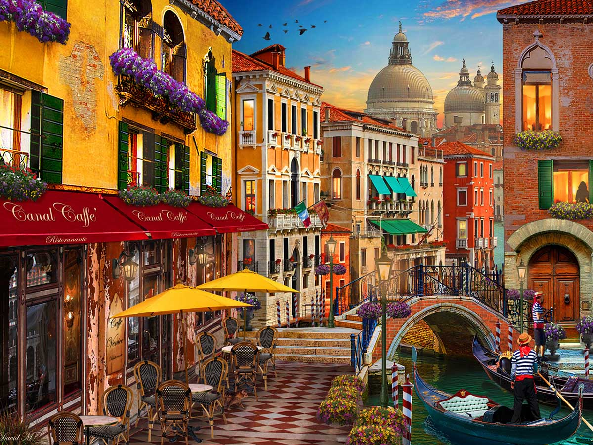 Canal Cafe Venice Italy Jigsaw Puzzle