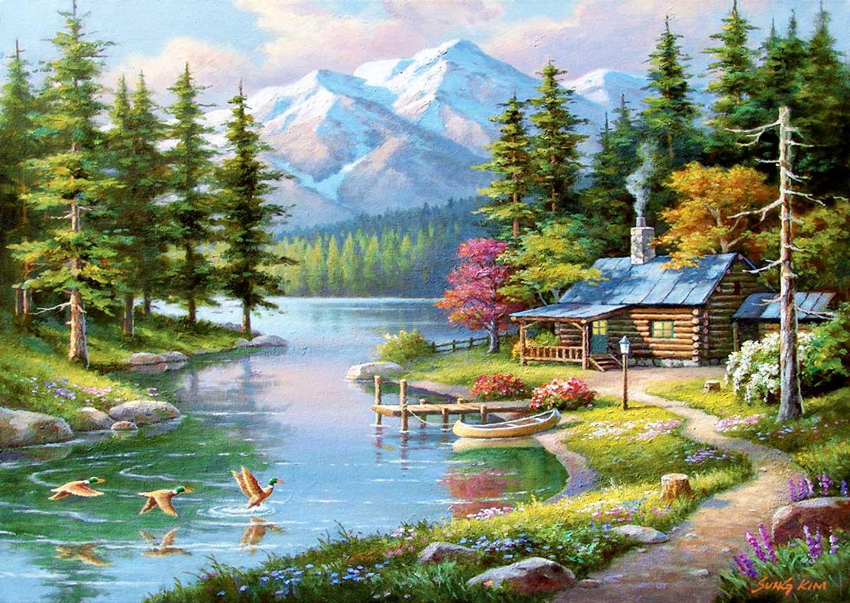 Resting Canoe Landscape Jigsaw Puzzle