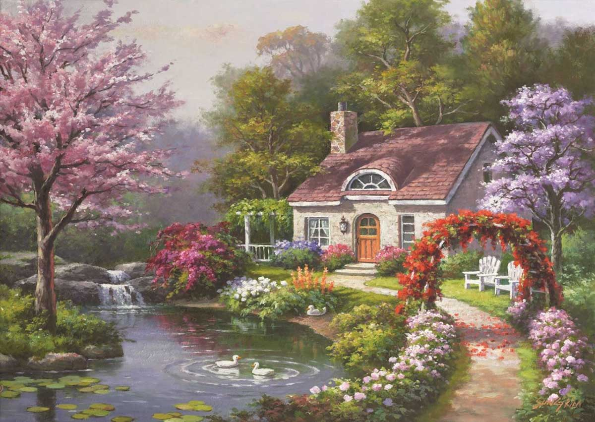 Spring Cottage In Full Bloom Spring Jigsaw Puzzle