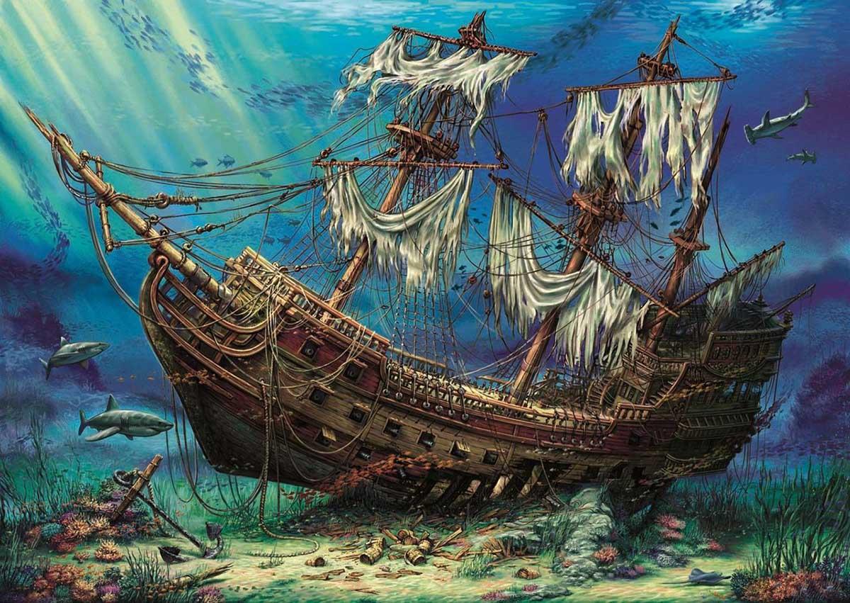 Shipwreck Sea Under The Sea Jigsaw Puzzle