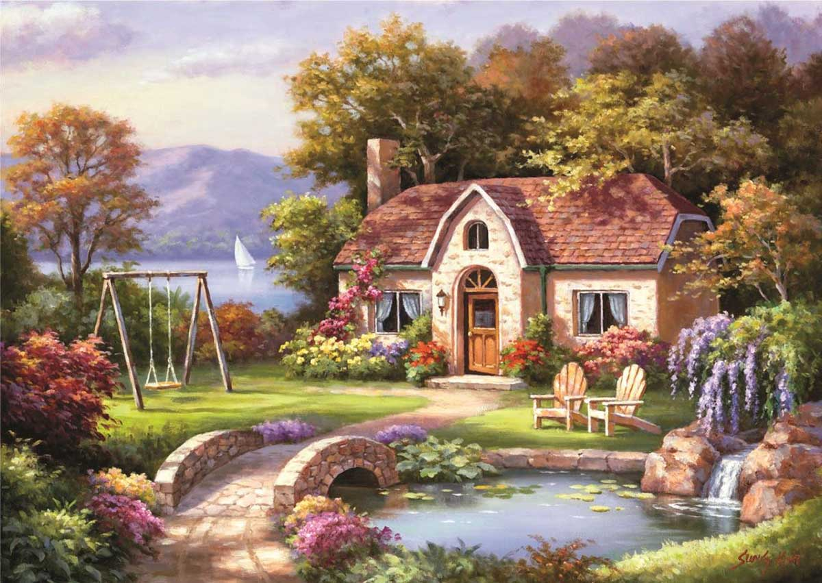 Stone Bridge Cottage Spring Jigsaw Puzzle