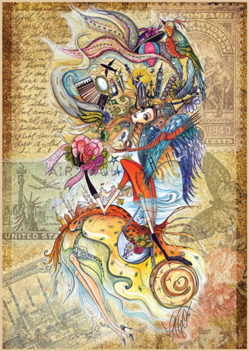 Circassian Girl Traveling The World Fine Art Jigsaw Puzzle