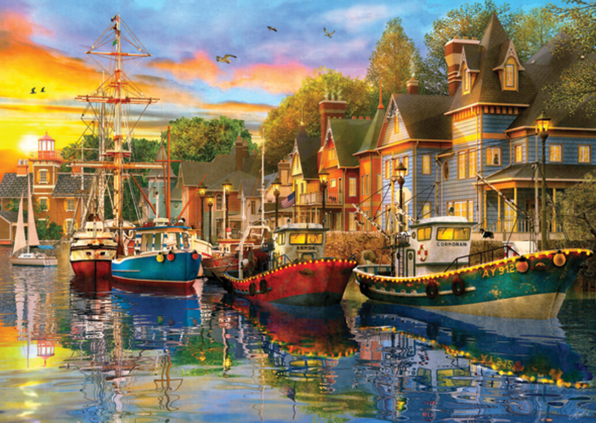 Harbour Lights Boats Jigsaw Puzzle