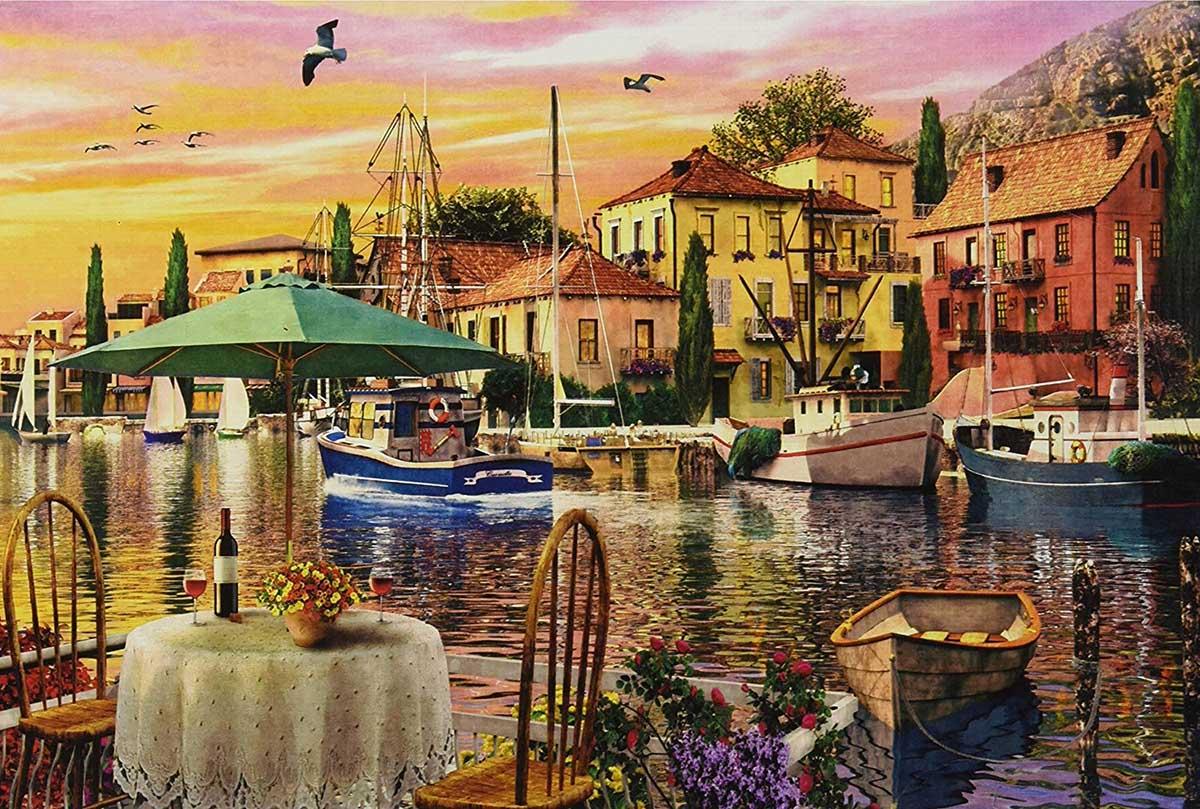 Sunset Harbor Seascape / Coastal Living Jigsaw Puzzle