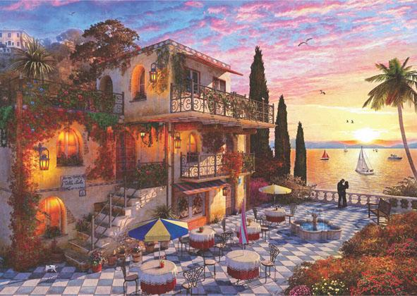 Mediterranean Romance Seascape / Coastal Living Jigsaw Puzzle