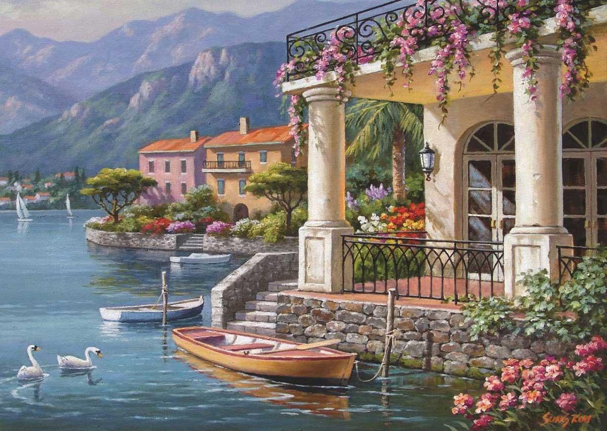 Villa On The Bay Boats Jigsaw Puzzle