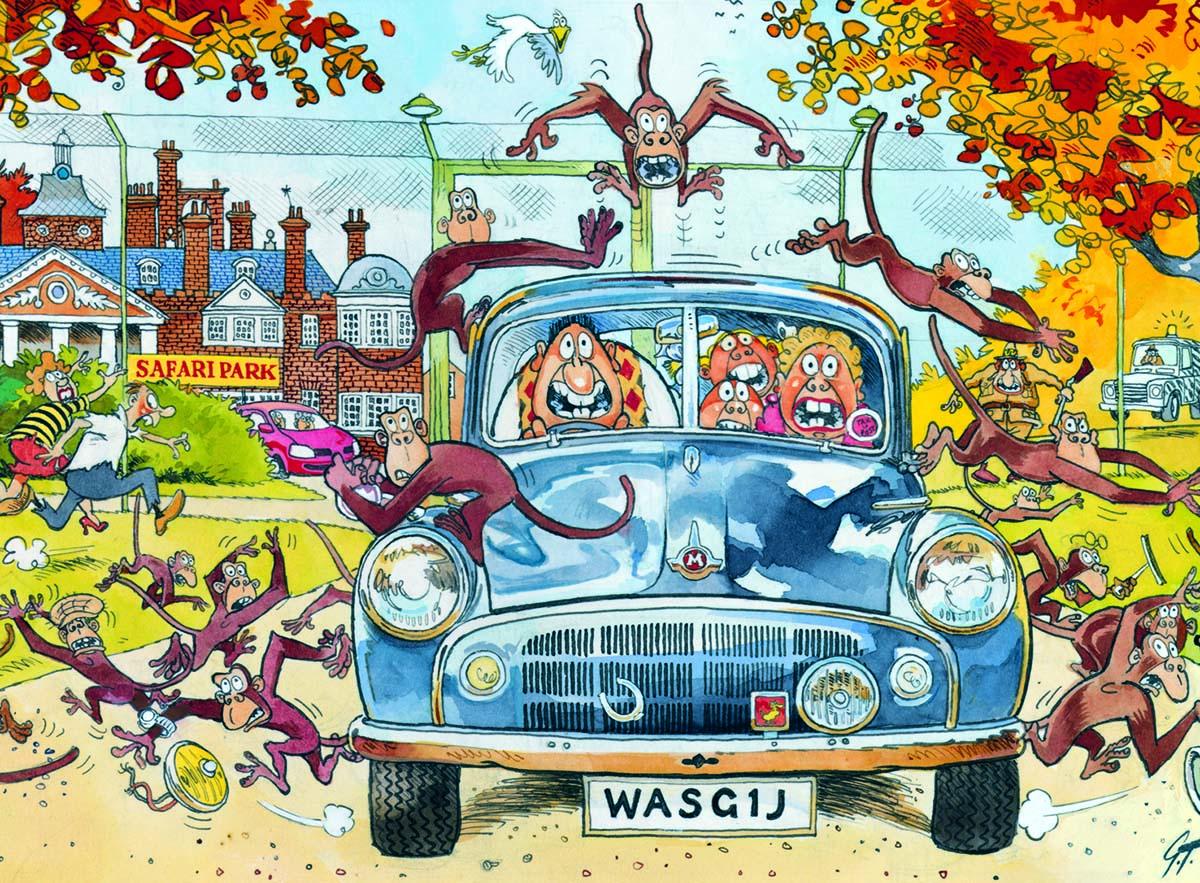 Mini Wasgij Original 3:  Monkey Business! Cars Jigsaw Puzzle