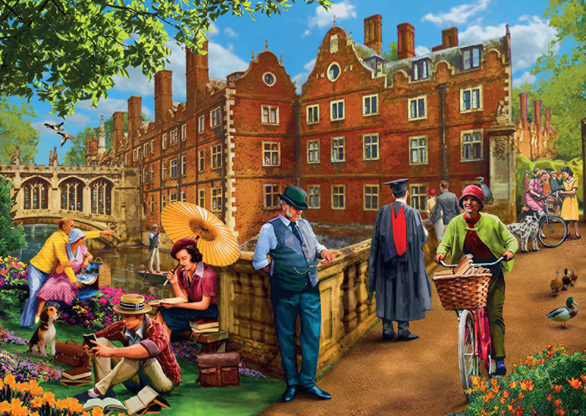 Afternoon in Cambridge Nostalgic / Retro Jigsaw Puzzle