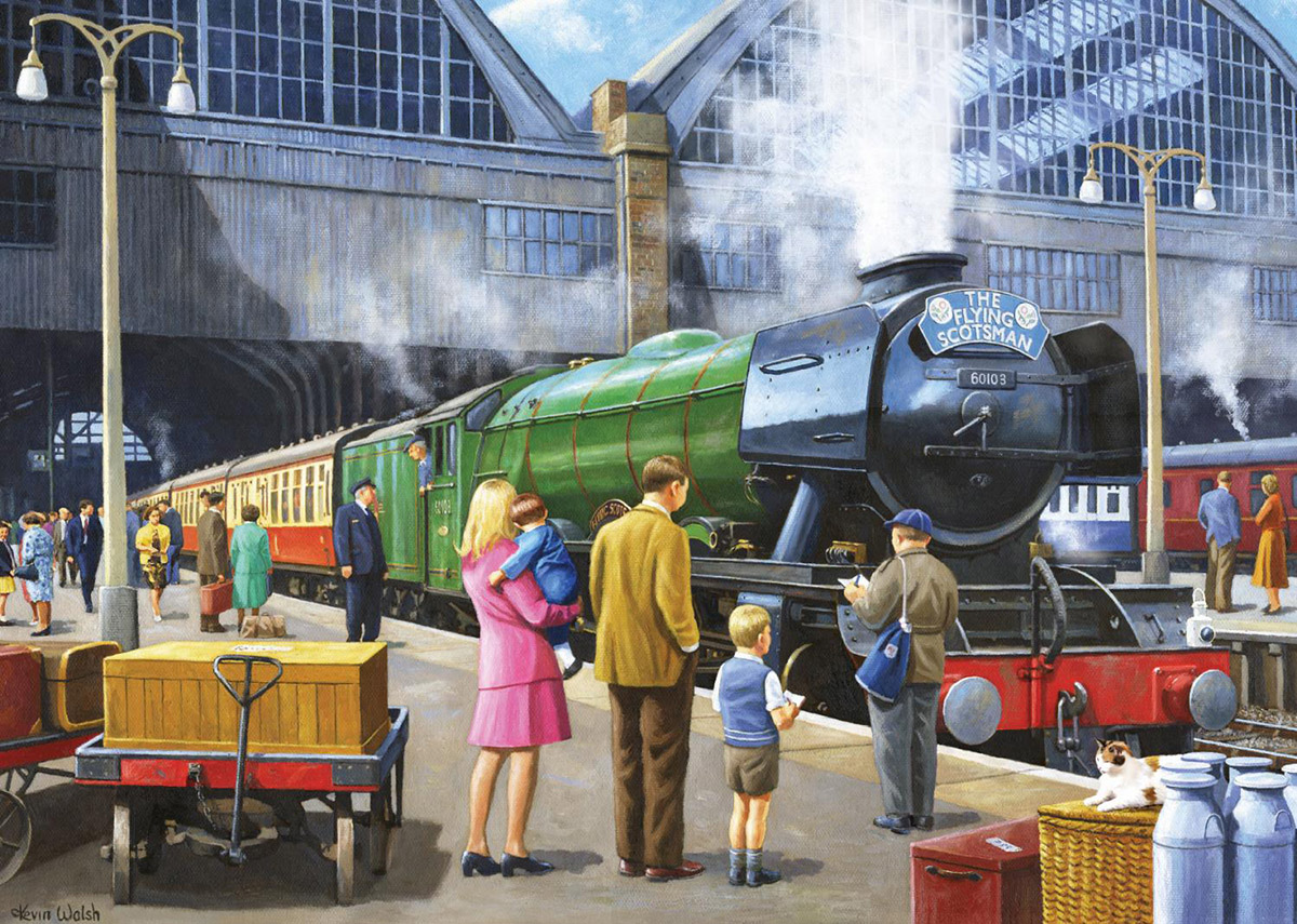 Flying Scotsman at King's Cross Trains Jigsaw Puzzle