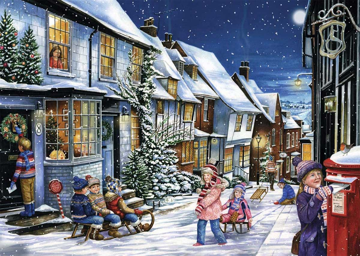 Playing In The Snow Street Scene Jigsaw Puzzle