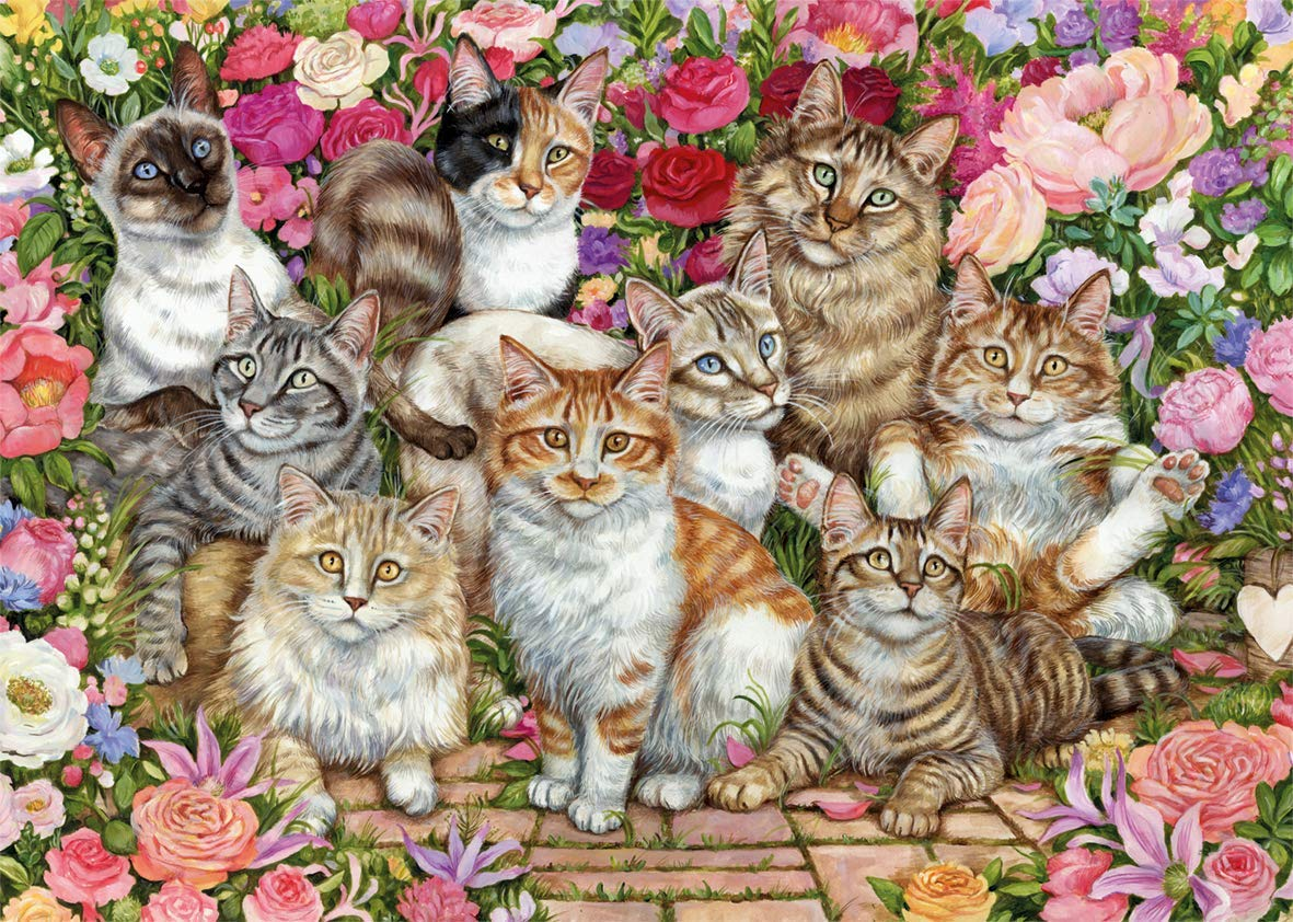 Floral Cats Cats Jigsaw Puzzle