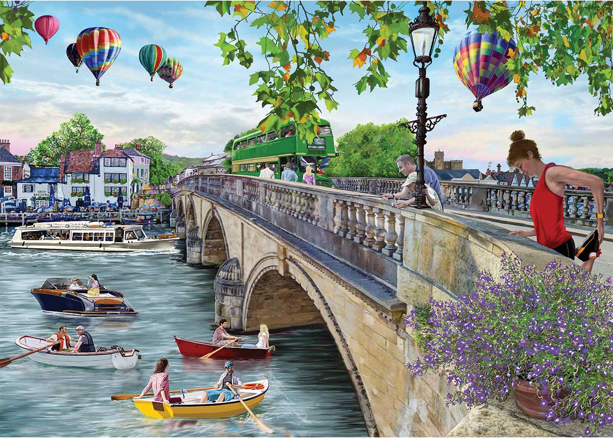 Looking Across the River Boats Jigsaw Puzzle