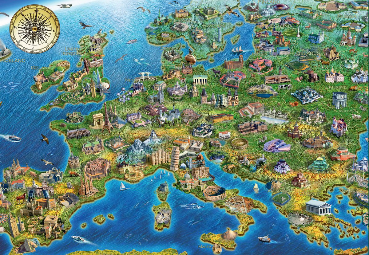 Map of europe jigsaw puzzle puzzlewarehouse map of europe maps geography jigsaw puzzle gumiabroncs Image collections