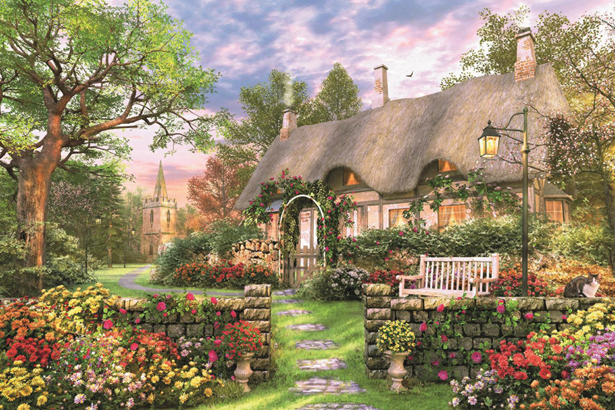 Sunny Cottage Flowers Jigsaw Puzzle