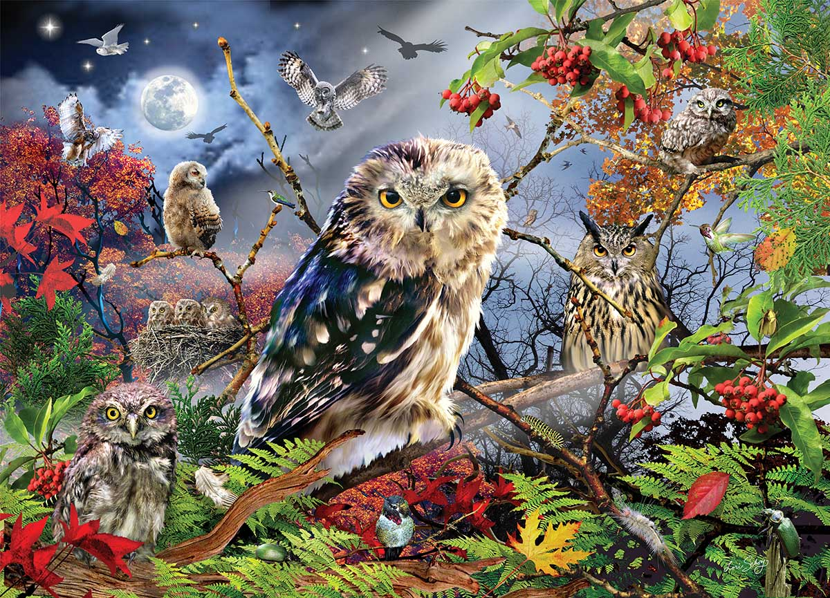 Owls in the Moonlight Forest Jigsaw Puzzle