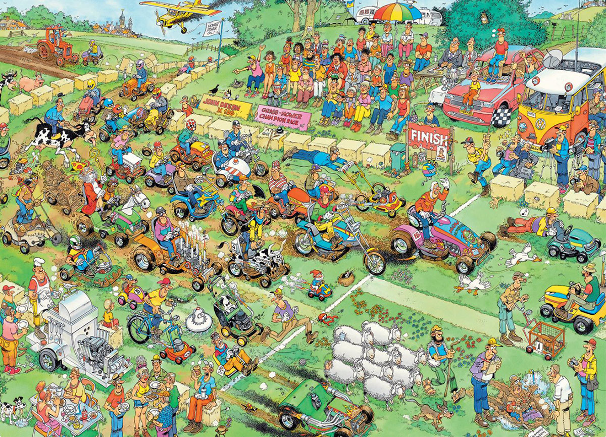 Lawn Mower Race Cartoons Jigsaw Puzzle
