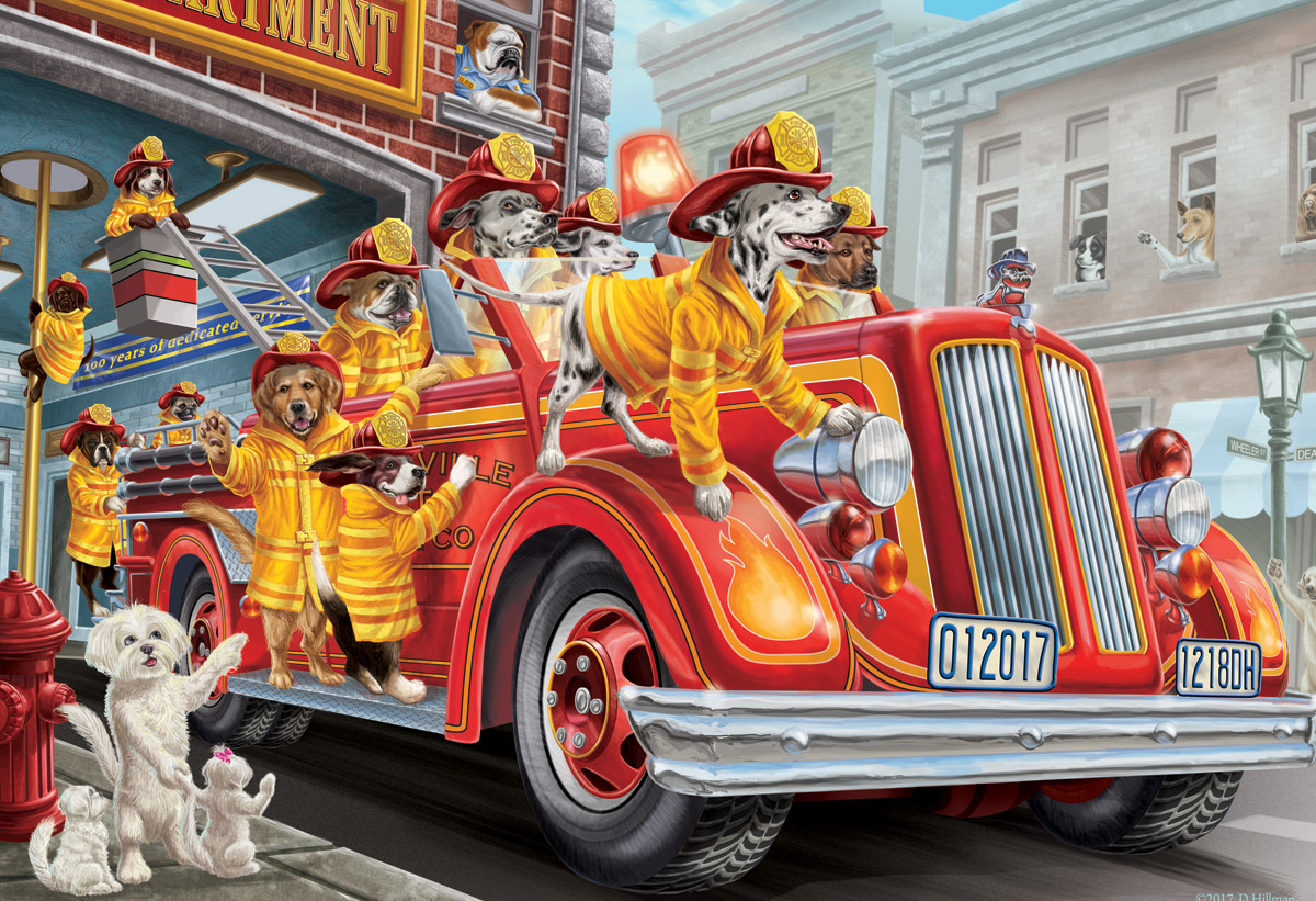 Fire Truck Pups Dogs Jigsaw Puzzle