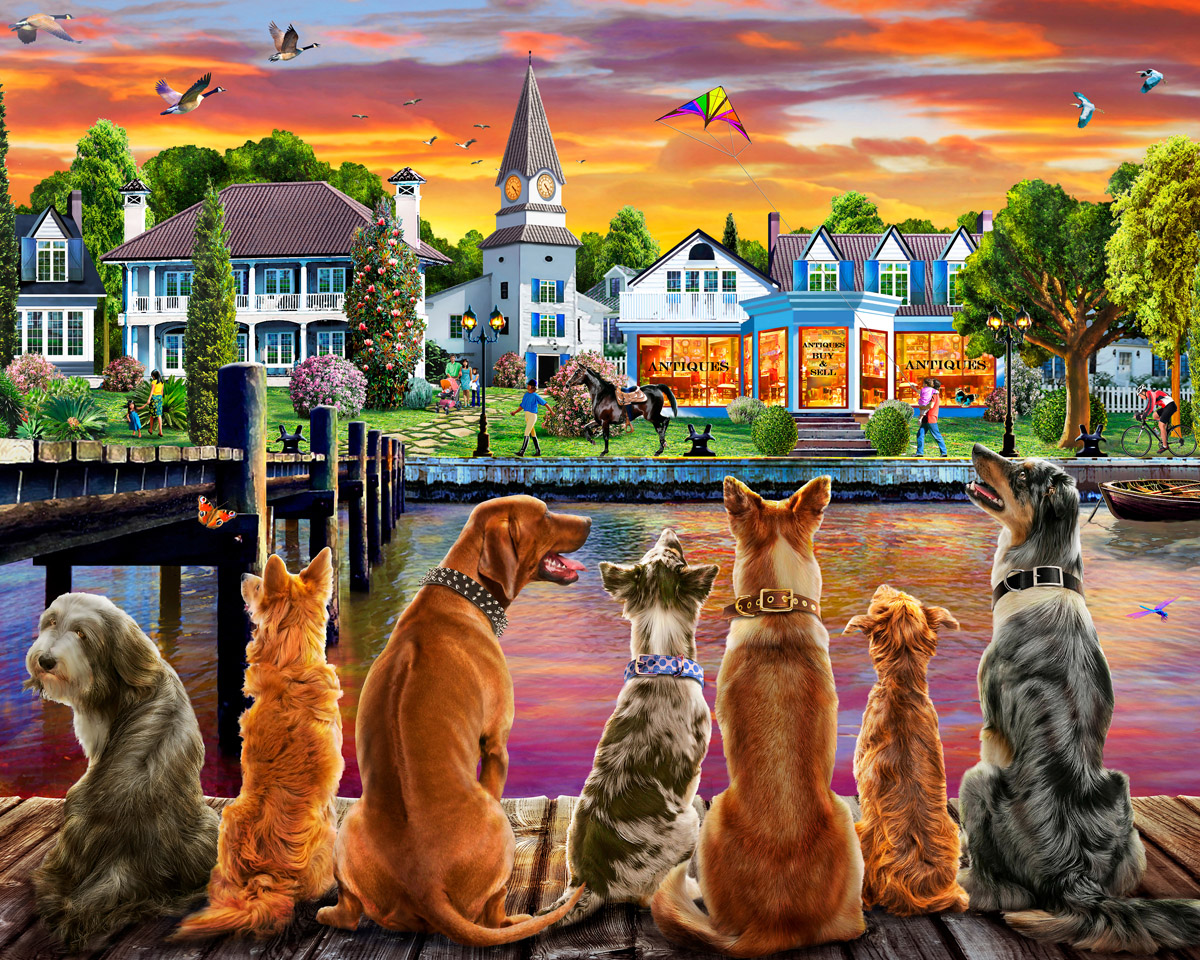 Dockside Dogs Dogs Jigsaw Puzzle