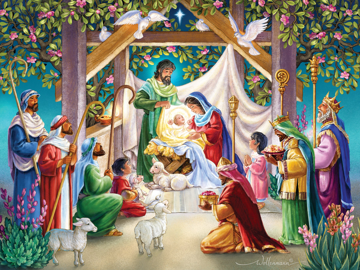 Magi at the Manger Religious Jigsaw Puzzle