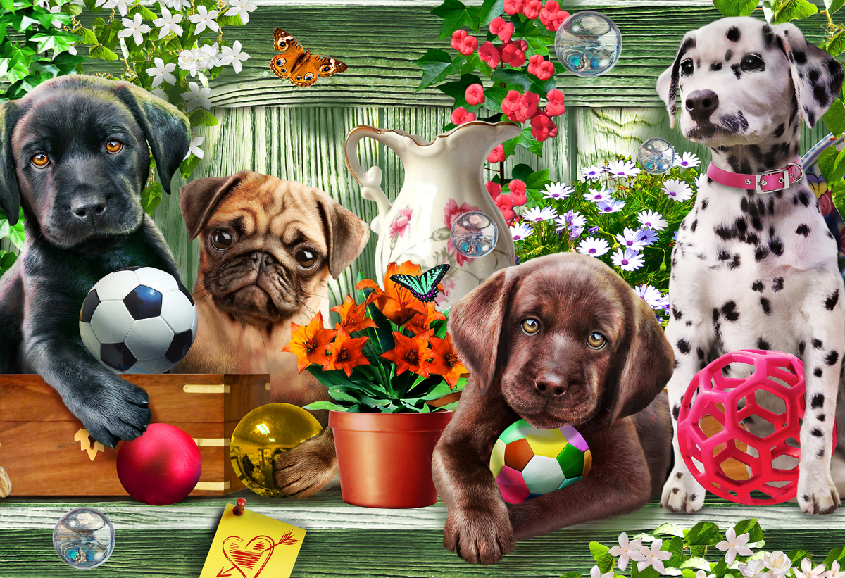 Garden Puppies Dogs Jigsaw Puzzle
