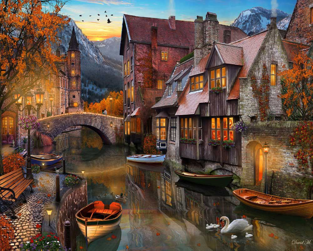 Autumn Canal Fall Jigsaw Puzzle