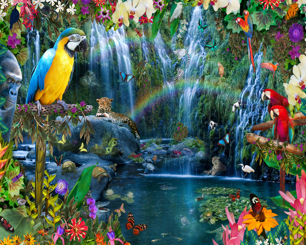 Tropical Paradise Jungle Animals Jigsaw Puzzle