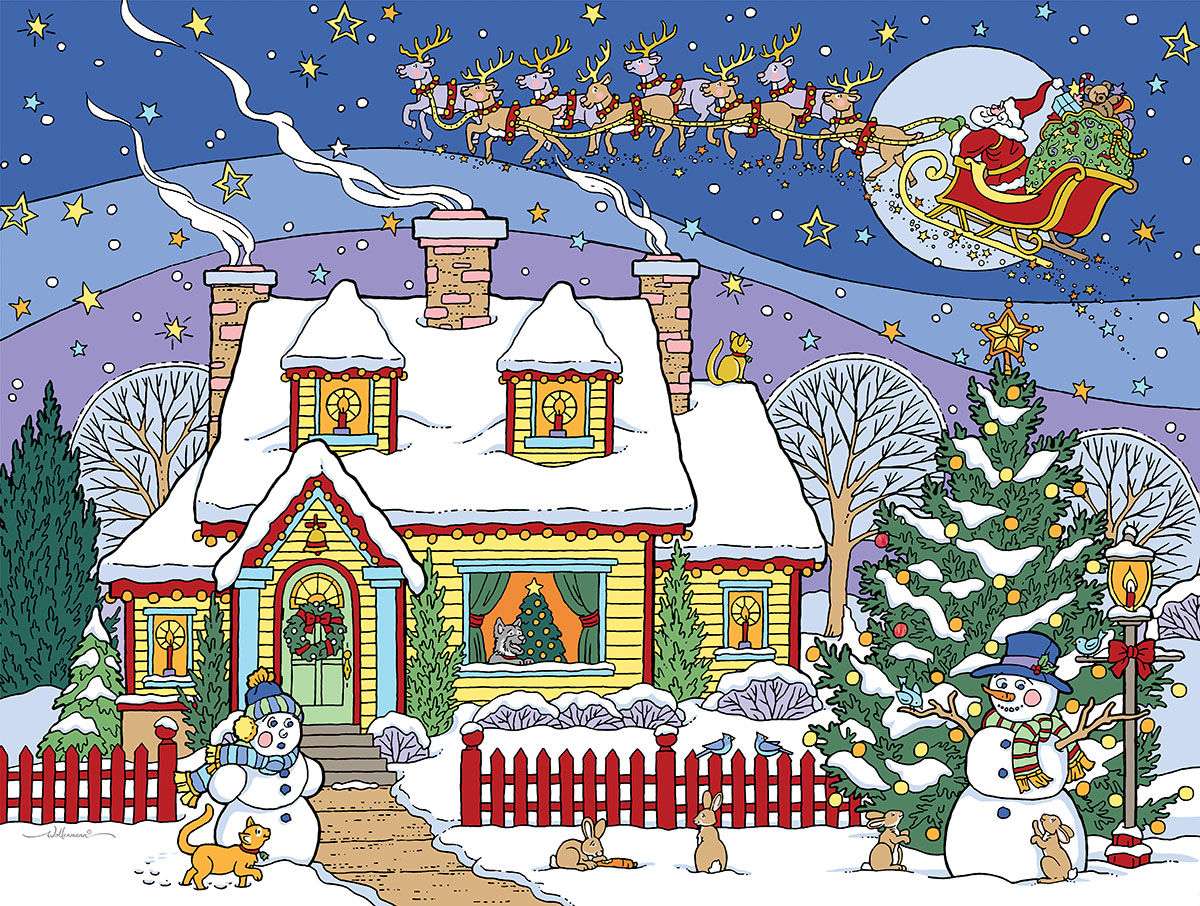 Snowman Celebration Christmas Jigsaw Puzzle