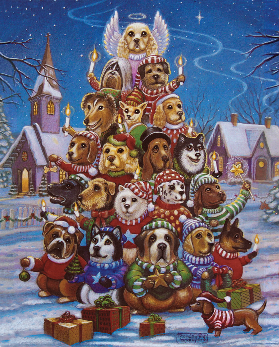 Canine Christmas Tree Dogs Jigsaw Puzzle