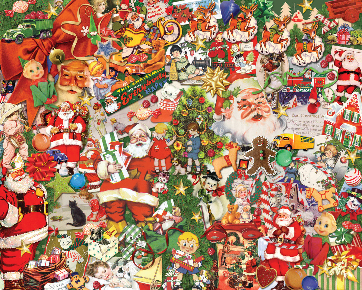 Vintage Christmas - Scratch and Dent Santa Jigsaw Puzzle