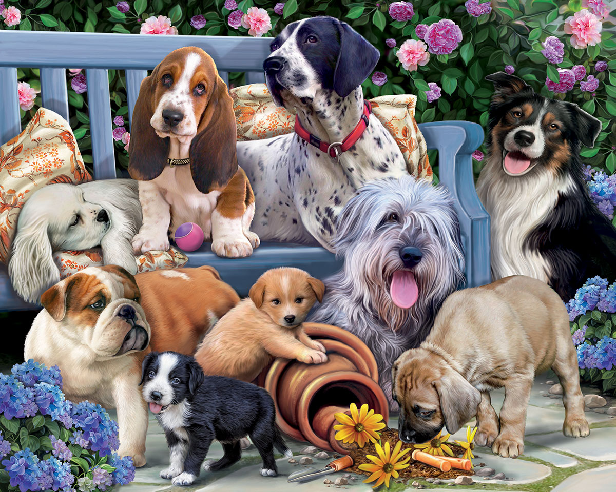 Dogs on a Bench Dogs Jigsaw Puzzle