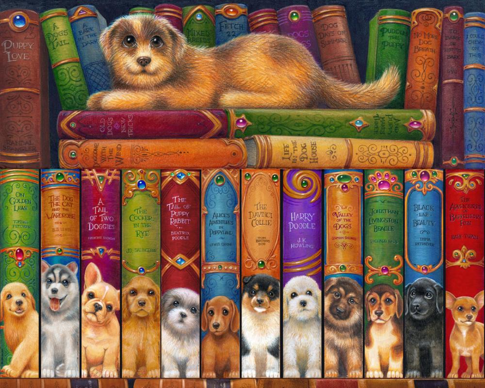 Dog Bookshelf Dogs Jigsaw Puzzle