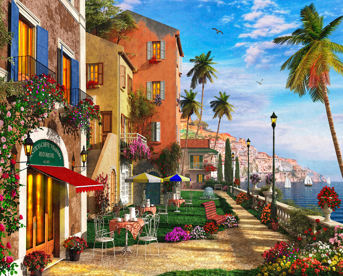 Mediterranean Terrace - Scratch and Dent Europe Jigsaw Puzzle