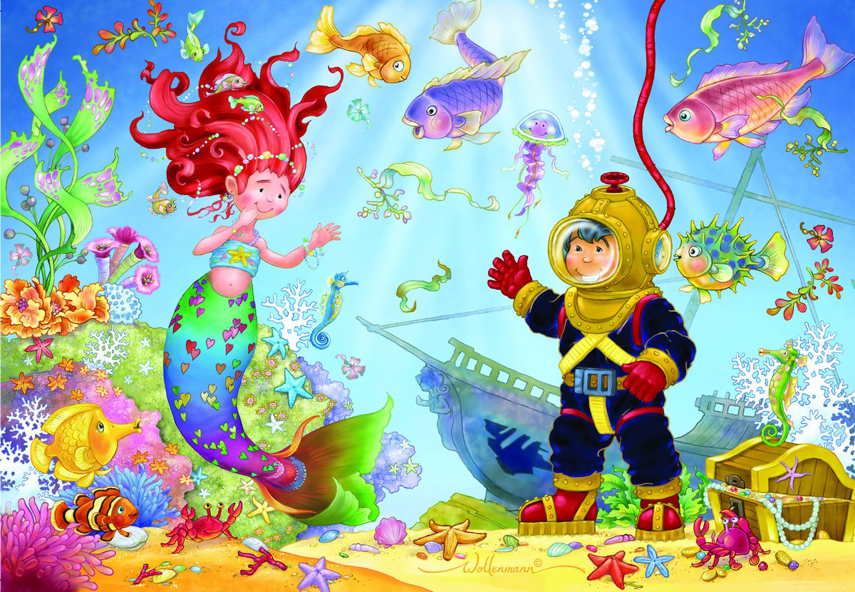 Mermaid & Diver Under The Sea Jigsaw Puzzle