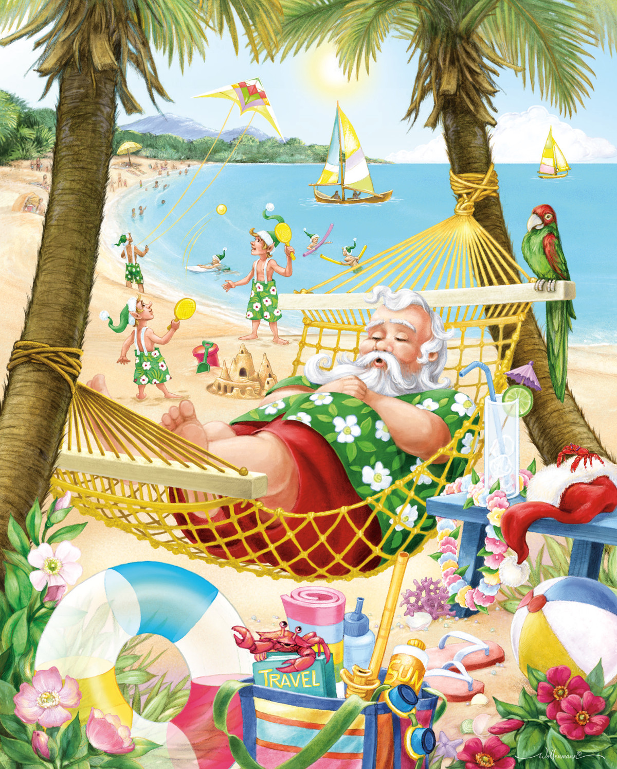 Santa's Vacation Beach Jigsaw Puzzle