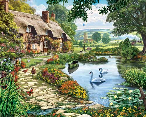 Lakeside Cottage Countryside Jigsaw Puzzle