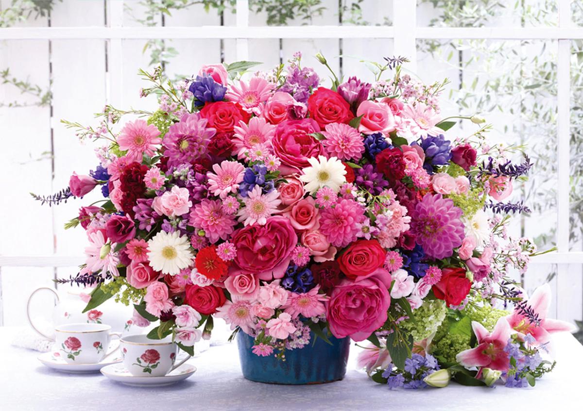 Pink Flower Basket Flowers Jigsaw Puzzle