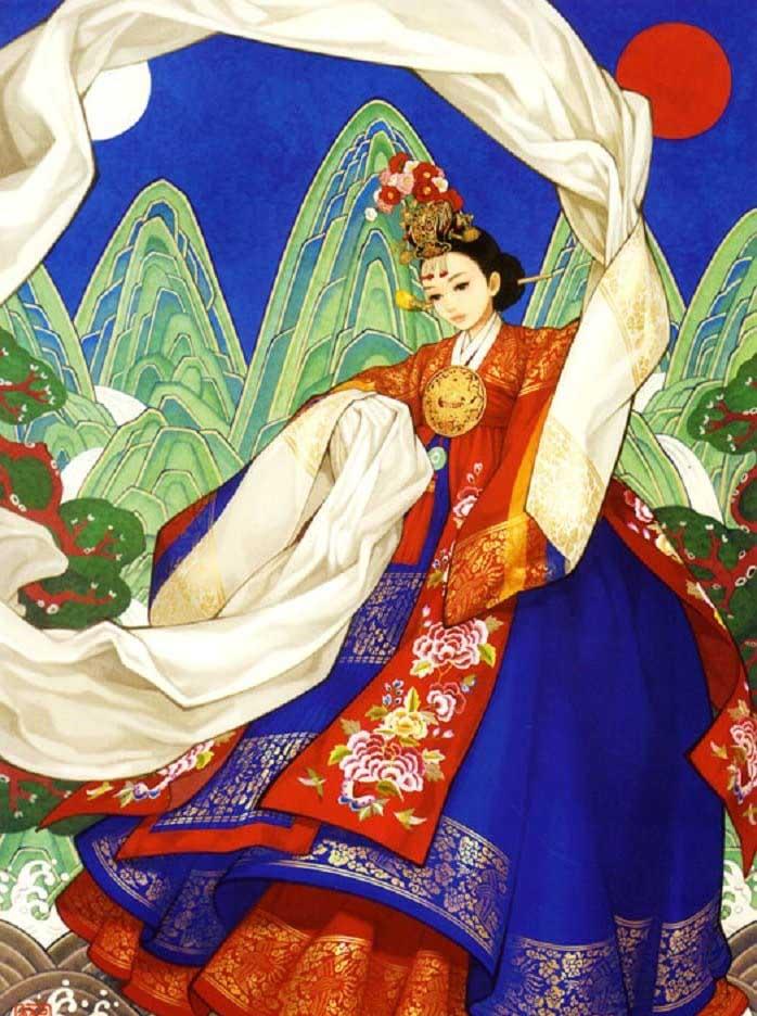 Dancing Girl Asian Art Jigsaw Puzzle